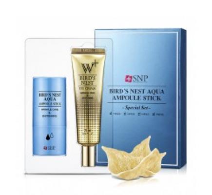 Набор по уходу за кожей лица SNP Bird's nest aqua ampoule stick promotional set: фото