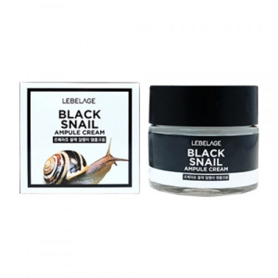Крем Ампульный с муцином чёрной улитки LEBELAGE Ampule Cream Вlack Snail 70мл: фото