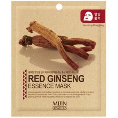 Маска для лица тканевая красный женьшень Mijin RED GINSENG ESSENCE MASK 25гр: фото