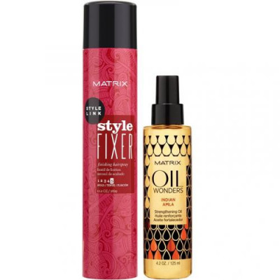 Набор Matrix, лак-спрей Style Link Style Fixer, 400 мл + масло укрепляющее Oil Wonders, 125 мл: фото
