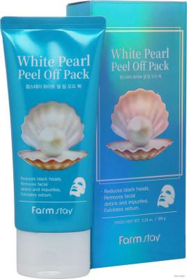 Маска-пленка очищающая с экстрактом жемчуга FarmStay White Pearl Peel Off Pack 100г: фото
